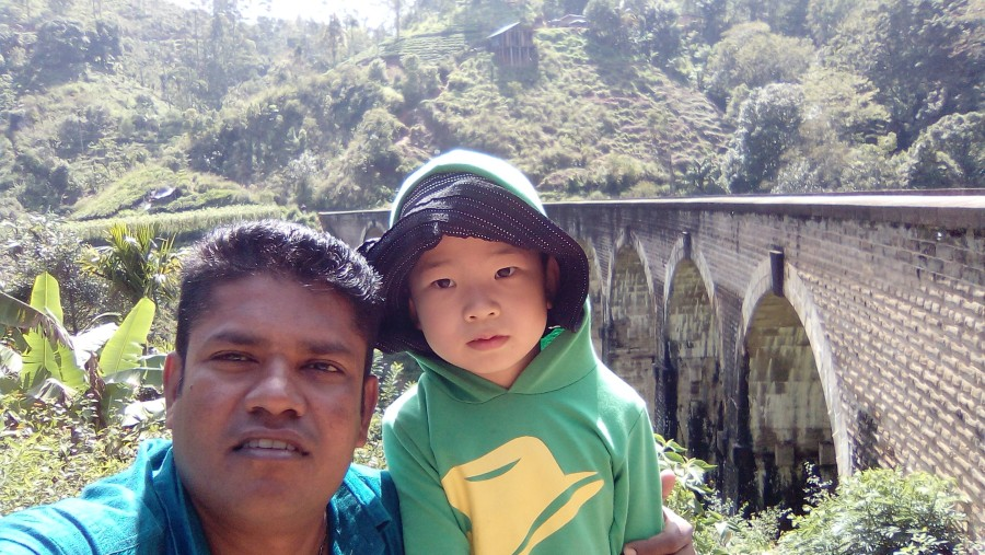 With little boy near the 9arch