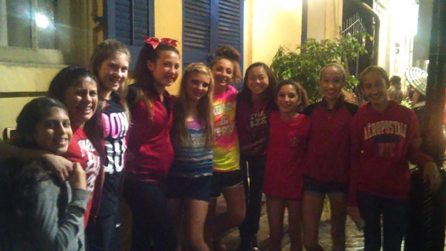The girls from Pearland Elite Training Center, Pearland Texas, in town for the Cheerleaders Competition on my Ghost Tour!