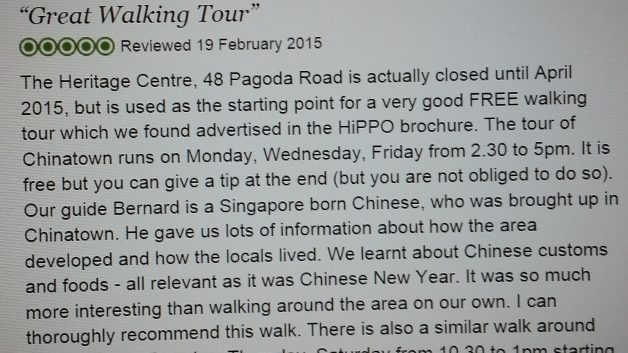 Review in Trip Advisor Feb 2015