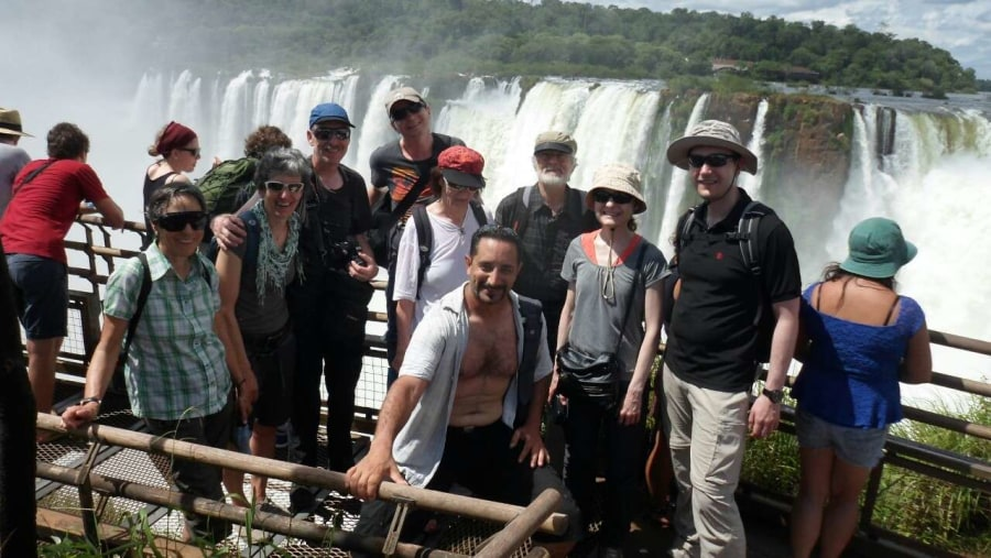 With travelers at Iguazú Falls.