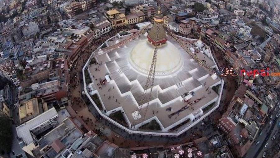 Bodhnath Stupa Ariel view