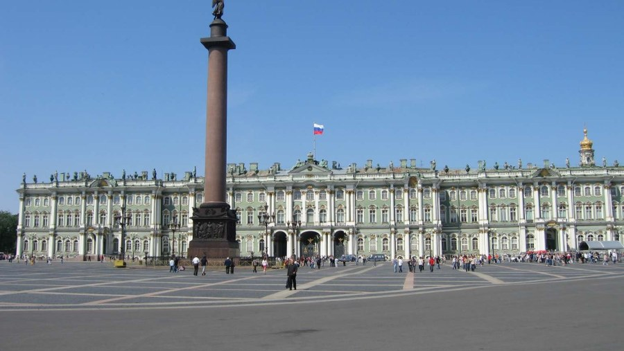 The view of Alexander Column and Winter Palace in the Palace Square