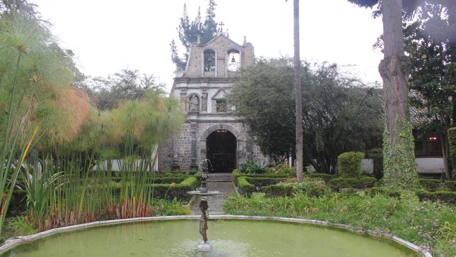 fountain and chapel at the hacienda