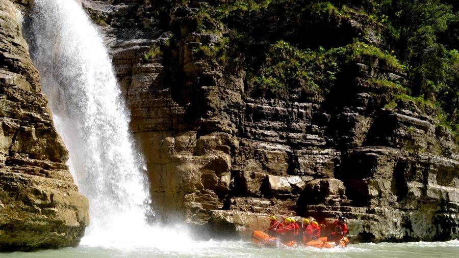 Rafting in Osumi Canyons,Waterfall of Bigazi,Albania Raftiong Tours
