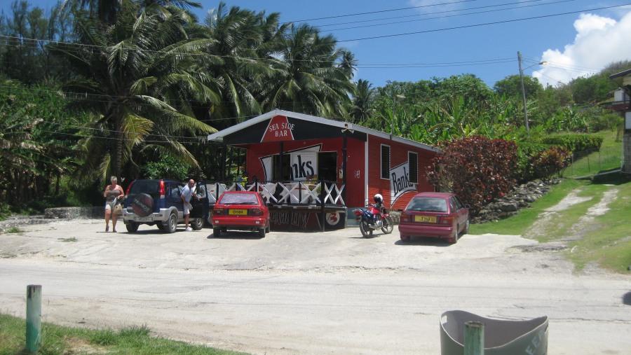 The Seaside Bar & Restaurant, Bathsheba. We provide complimentary drinks here