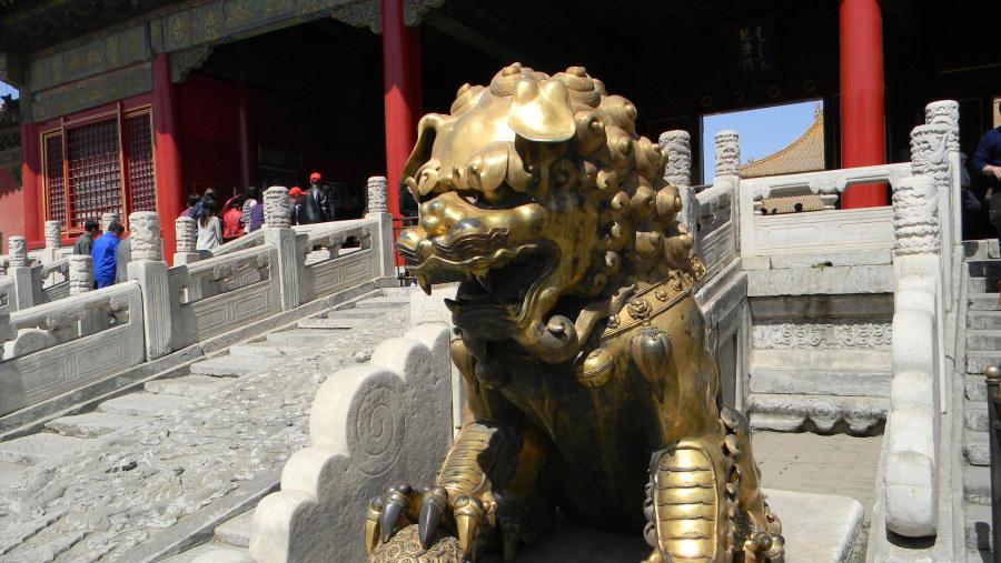bronze lion in Forbidden City