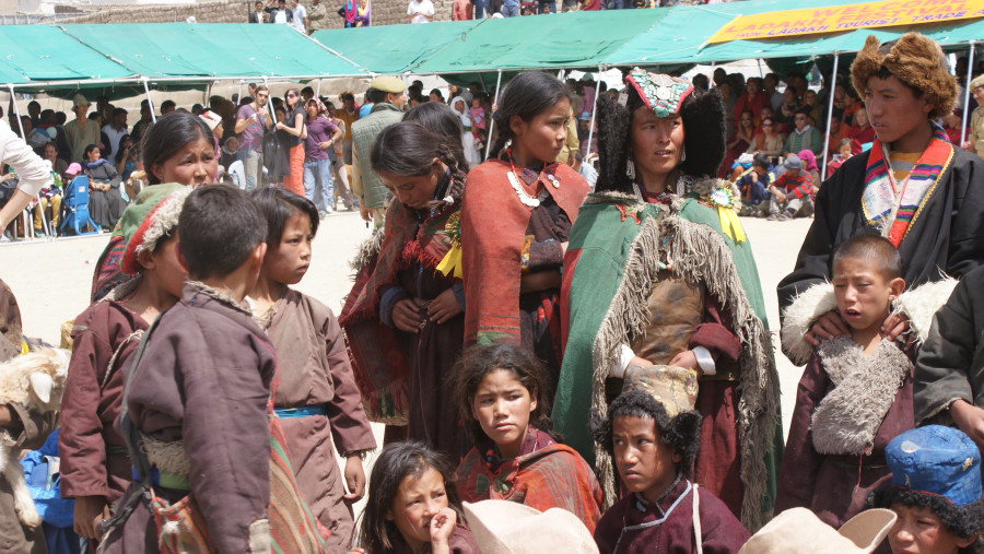 Local people from Changthang in traditional dress