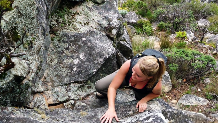 Adventure scrambling up Table Mountain