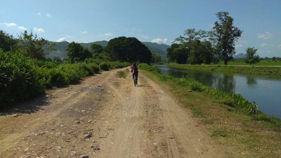 Biking through country road