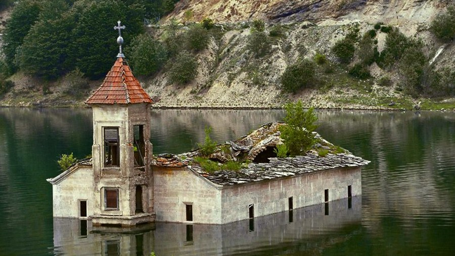 The Flooded Church of St Nicholas Submerged in Mavrovo Lake, Macedonia