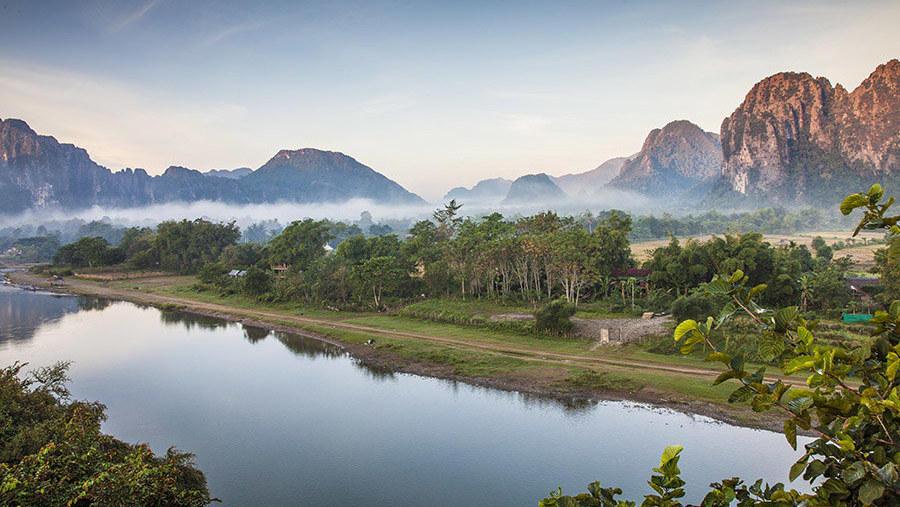 View of Namxong river in Vangvieng