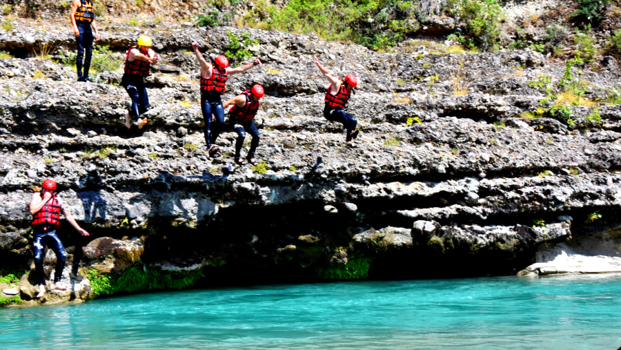 During Rafting in Vjosa we will swim and jump in the clear water
