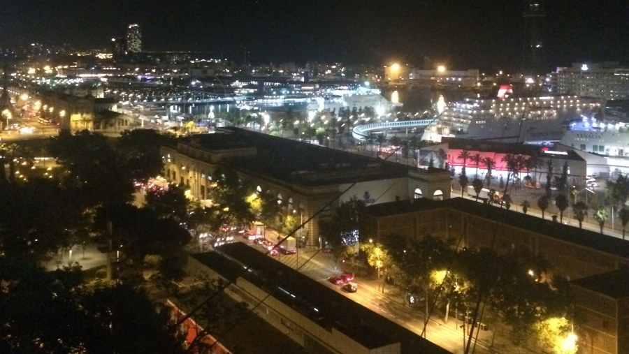 Night view of the seafront of Barcelona from Mont Juic Hill