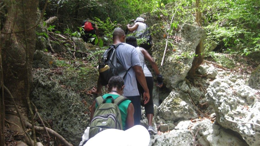 Its a scramble over many rocks and boluders on this optional trail section