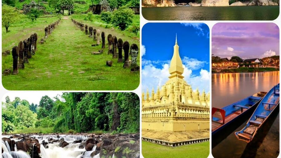Attractions sites in the south of Laos