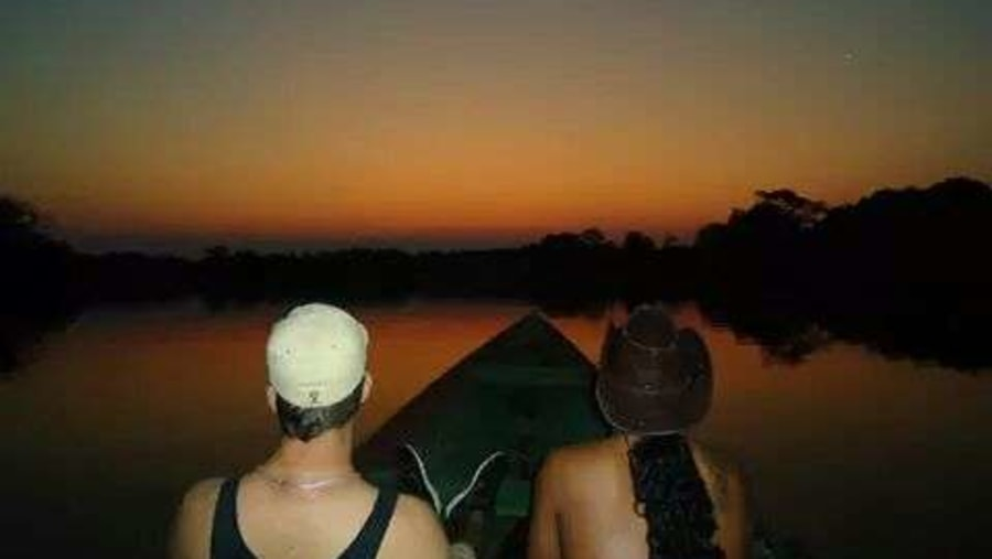 Sun Set in the Amazon is the best, just as the son goes down the sound of nature a raise...