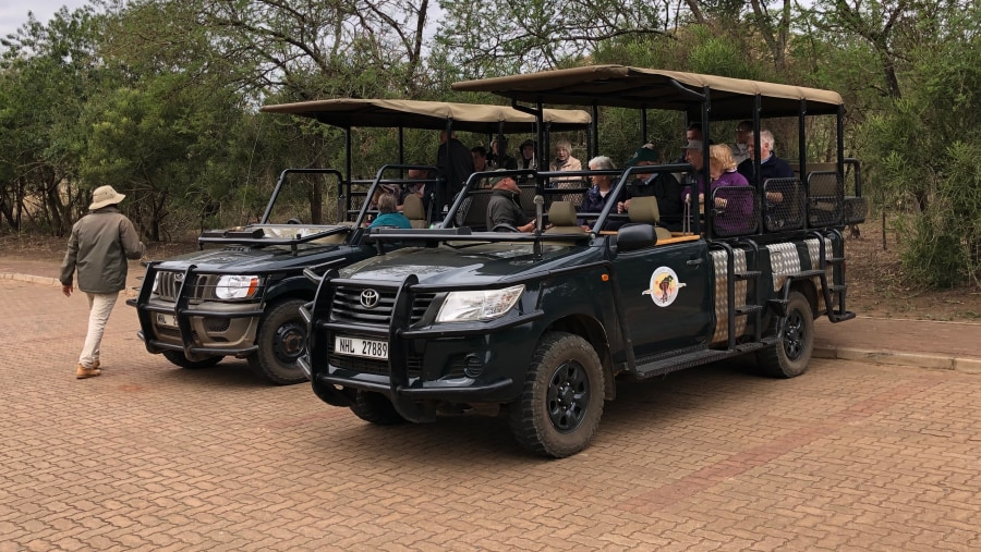 Guests ready for their open vehicle safari drive