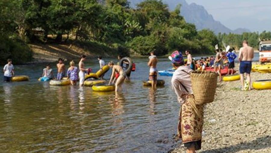 Tubing on Namsong river at Vang Vieng