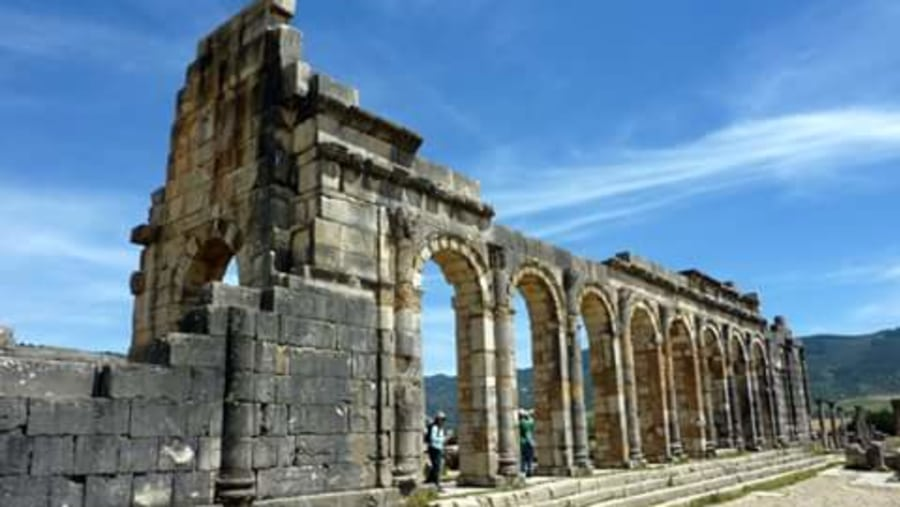 Volubilis is a partly excavated Berber and Roman city in Morocco situated near Meknes