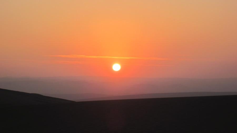 Sun set at Ica desert.