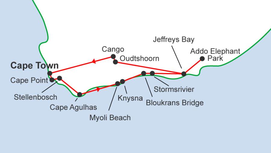 Garden Route tour map