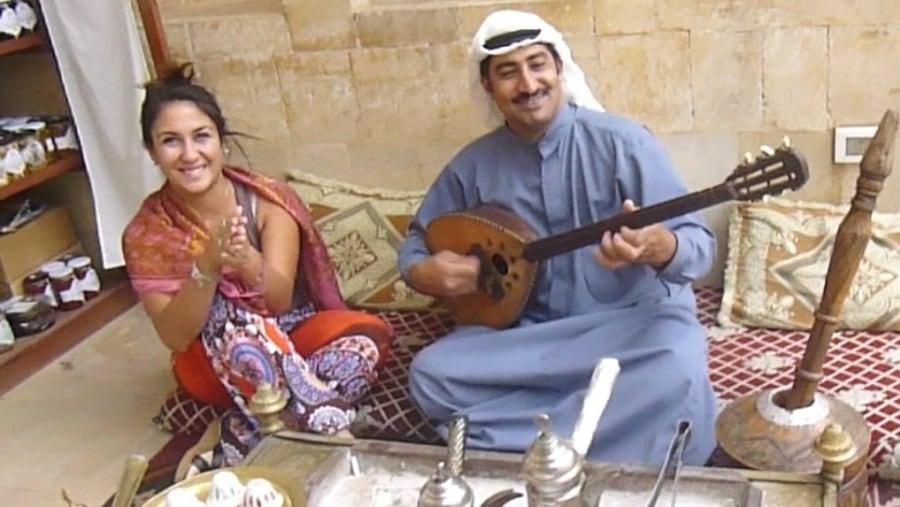 Argentinian Lebanese girl enjoying oriental music in the Palace of Beiteddine (2013-07)