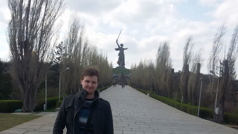 Standing in front of the Motherland Calls statue