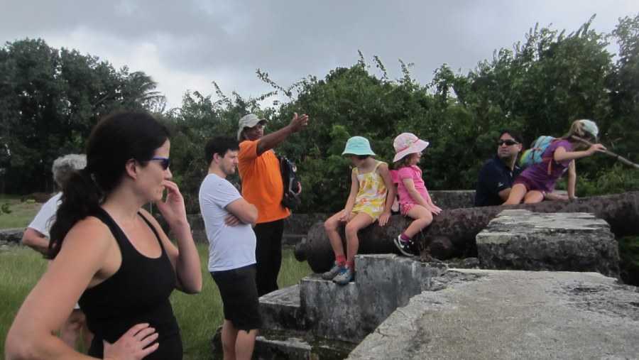 At the remnants of the Old Dover Fort & Signal Station, looking out to sea, as guide points out sights