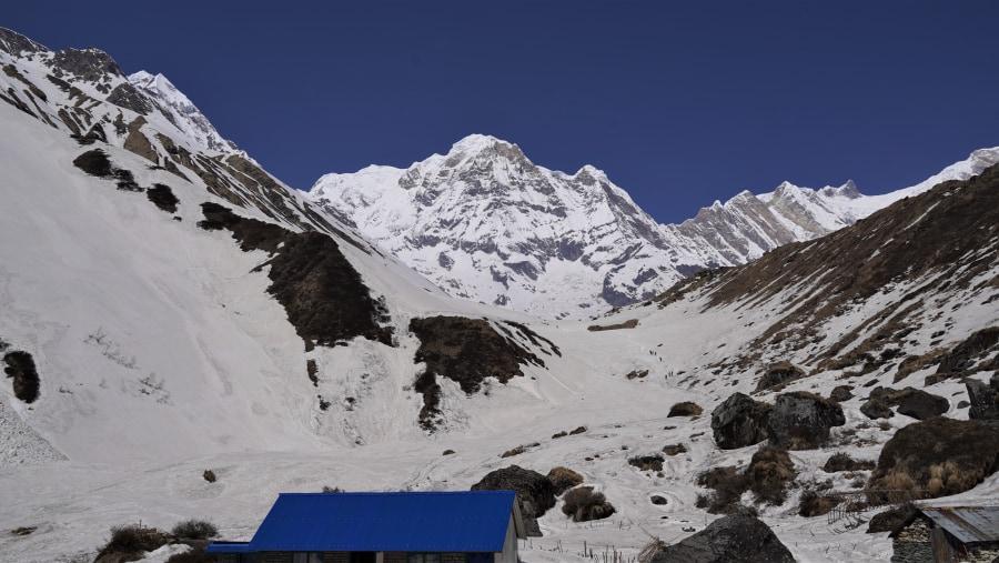 Mt. Annapurna 8,091m and Annapurna mountain range as seen from Annapurna Base Camp trek  April 2018