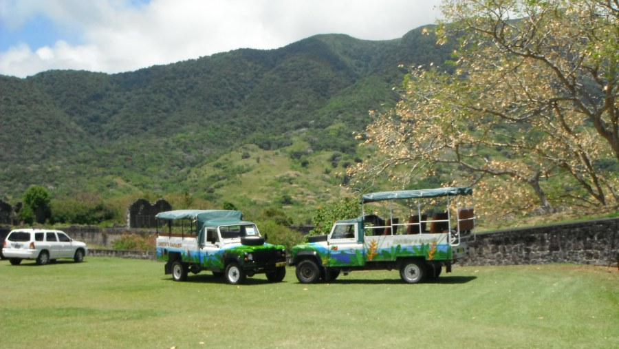 Two Land Rovers at Brimstone Hill Fortress