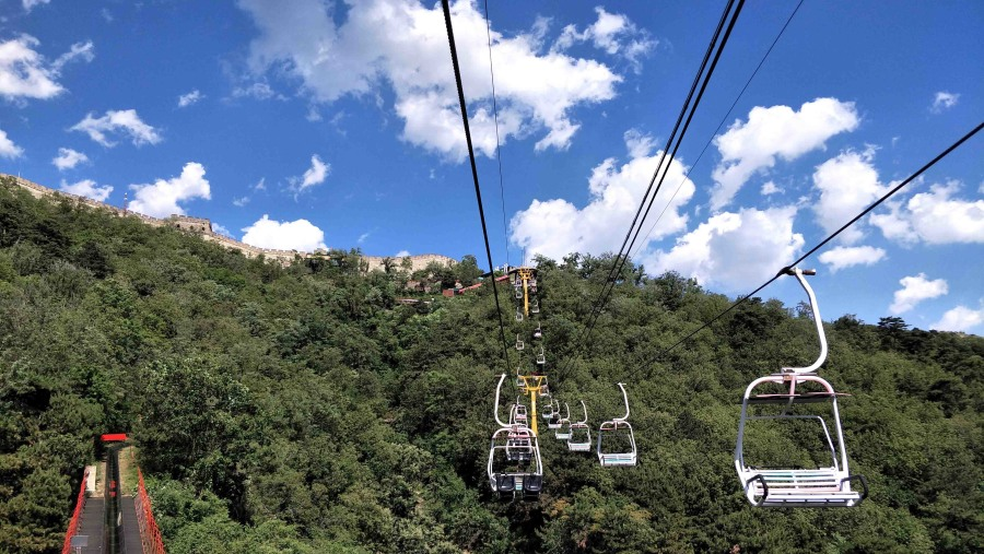 open cable car and silde on Mutianyu great wall