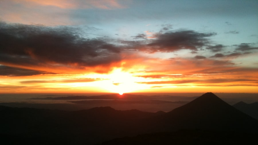 View to the east from the summit during sunrise