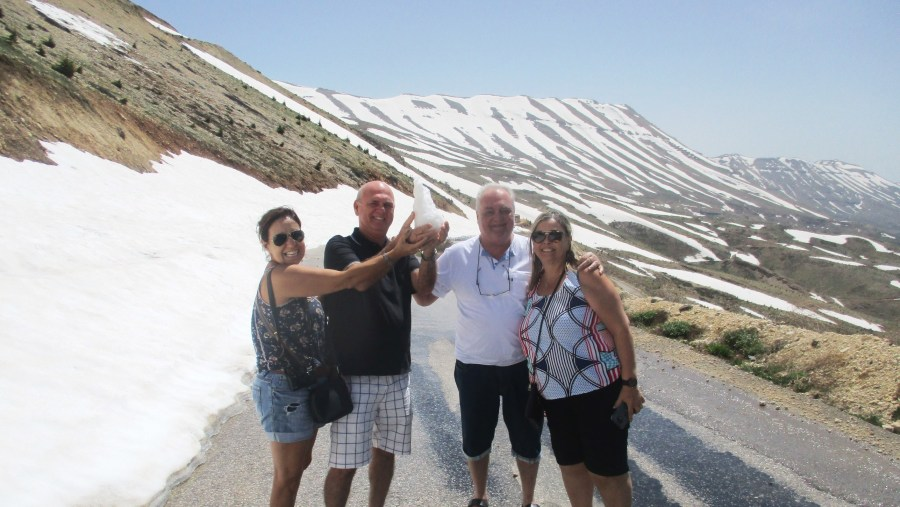Brazilian Lebanese family in the snowy Mountain of the Cedars (2019-05)