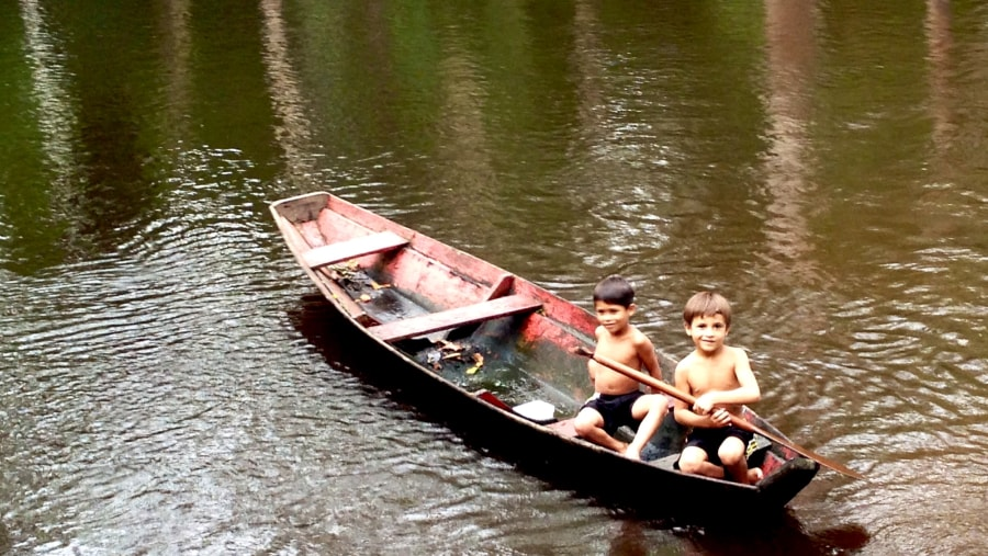 Amazon Children Spear-fishing