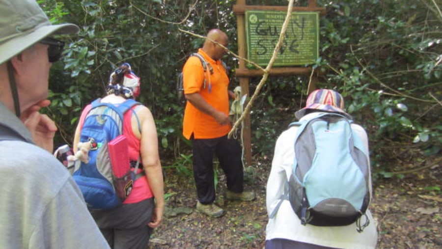 Guide shares on this trail sign