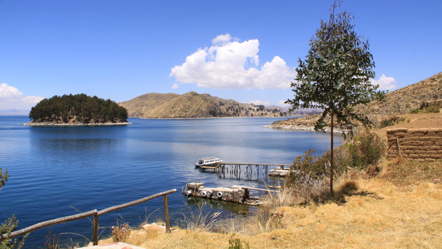 View of Titicaca lake from the Sun Island
