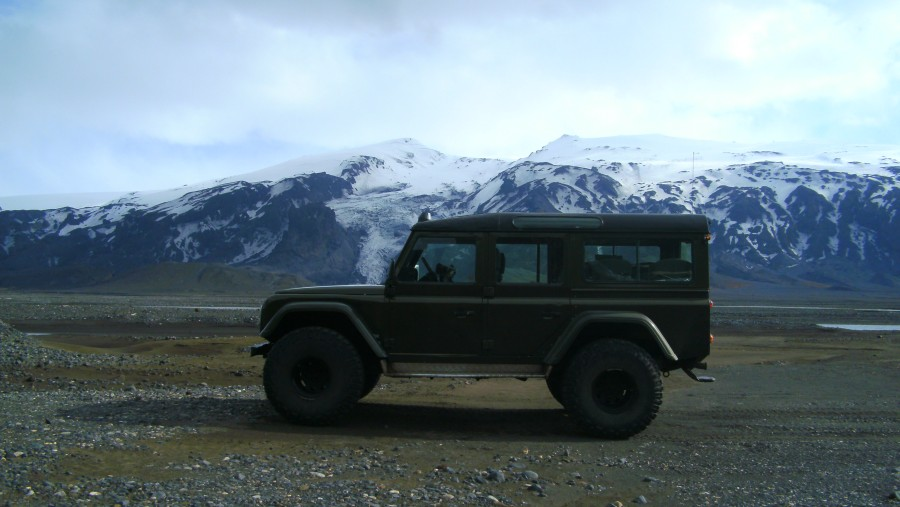 super truck and Eyjafjallajokull volcano
