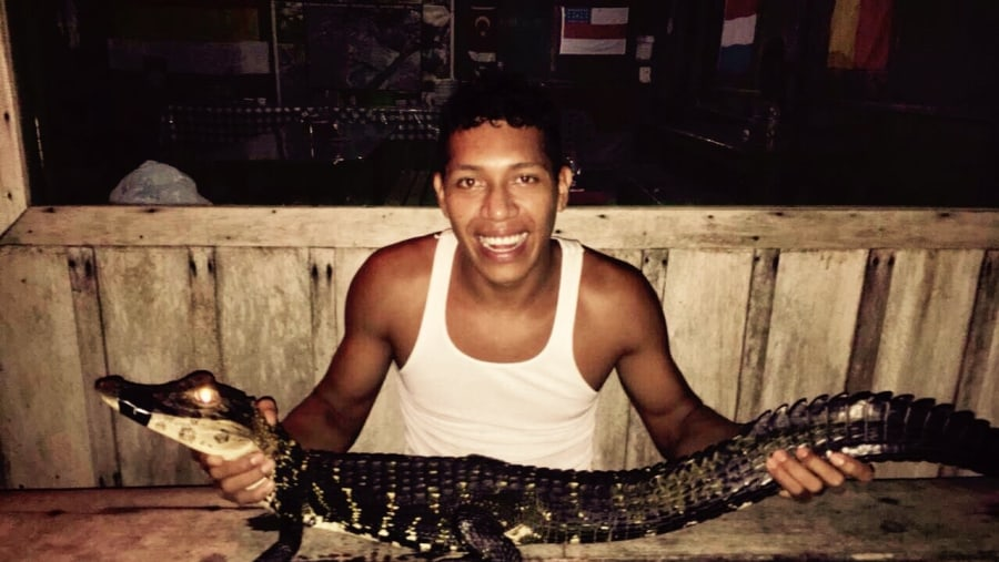 Josuel Crosa with a Caiman