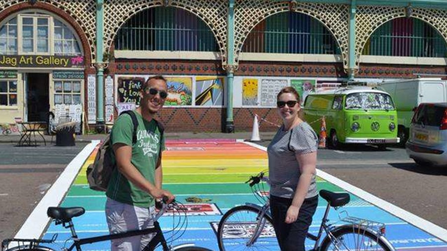 Uk's first rainbow crossing. Carlo takes us to great places on the Brighton Bike Tour