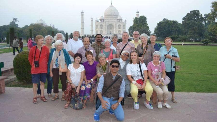 with group in taj mahal