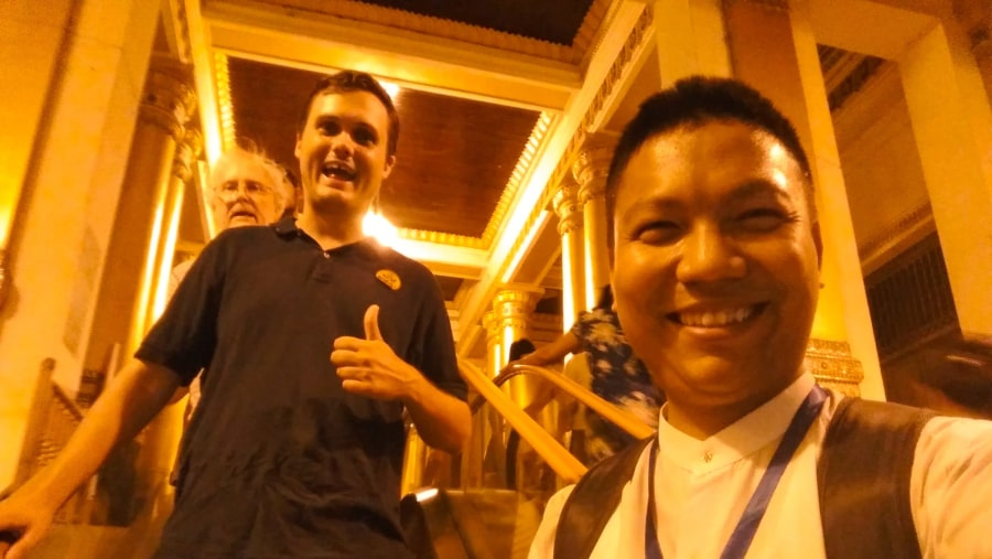 Happy moment with Clients(Western stair way of Shwedagon)