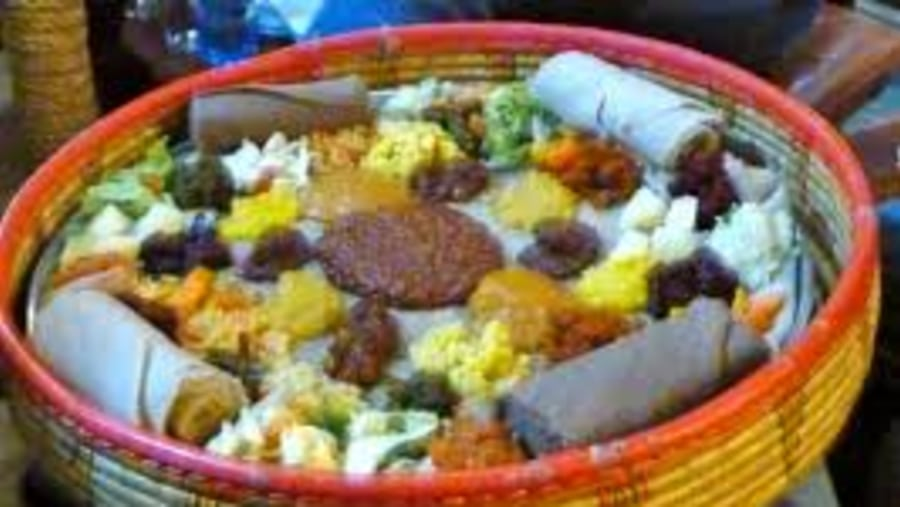 Typical Ethiopian Meals served on a basket table