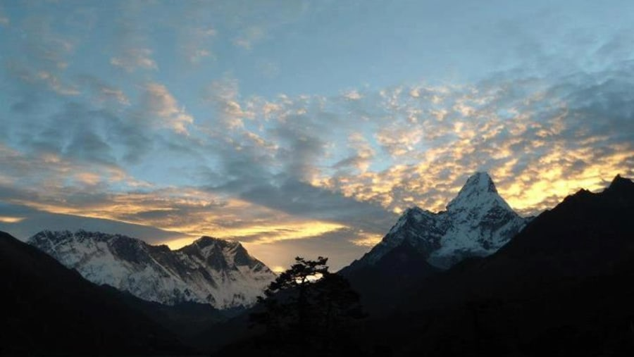 Mt. amadablam and Everest on left