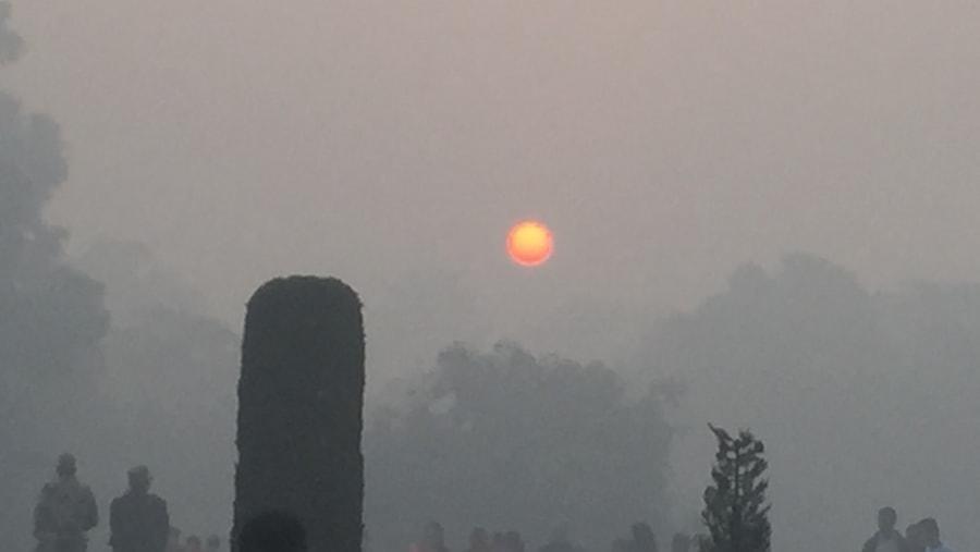 Early foggy sunrise at the Taj Mahal