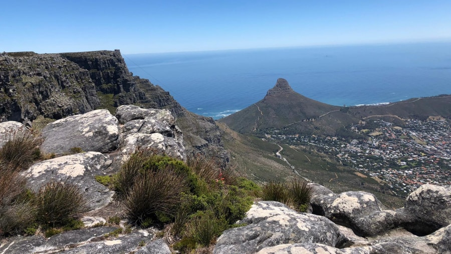 Lions head as viewed from the top of Table Mountain