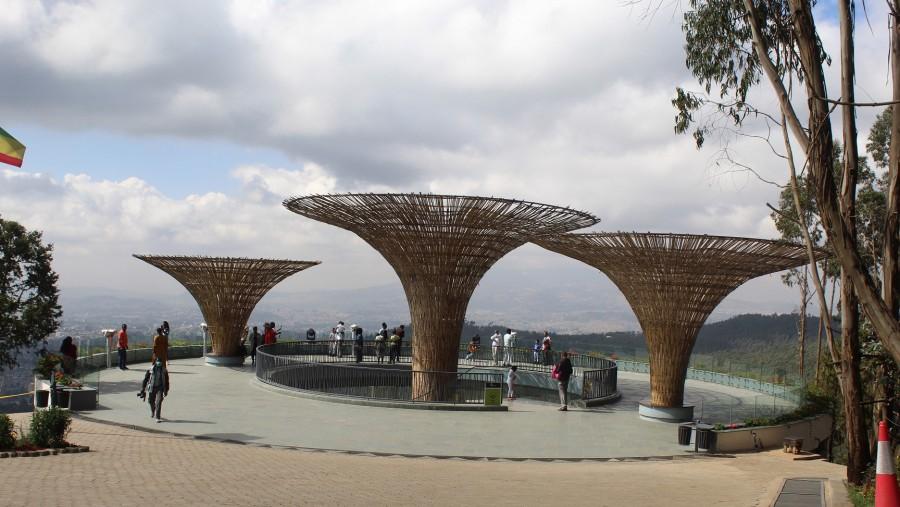 Enjoying panoramic view of Addis Ababa from Mount Entoto