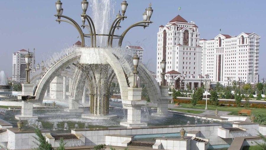 Fountains in the Independence park of Ashgabat