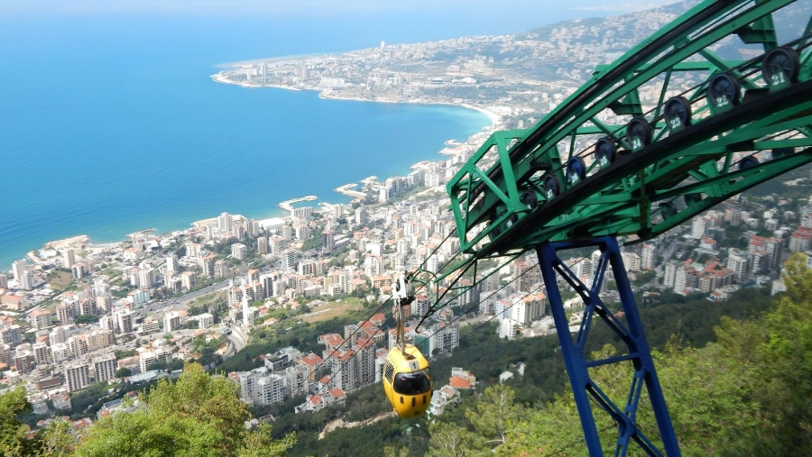 The Jounieh cable car leading to our Lady of Lebanon in Harissa