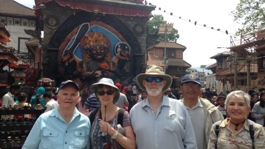 with American guests in front of Bhairav Temple