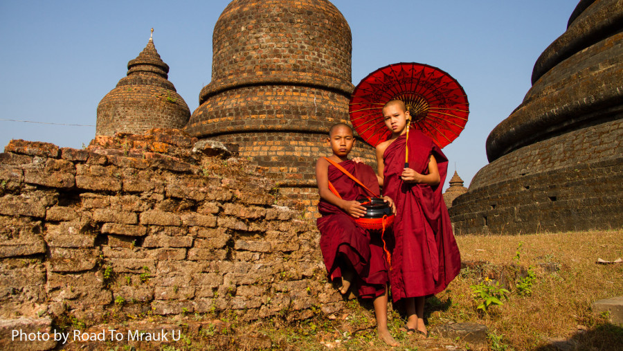 Young Monks by the temple
